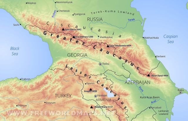 caucasus-mountains-map